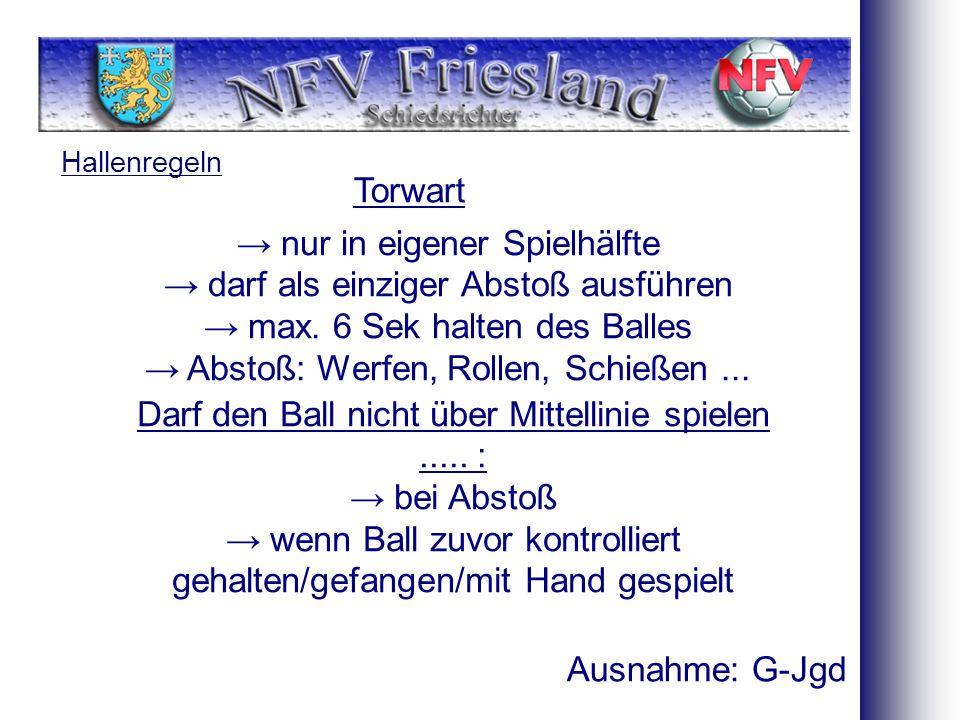 Hallenregeln Torwart Darf den Ball nicht über Mittellinie spielen.....