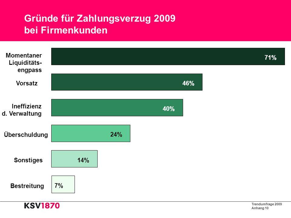 Trendumfrage 2009 Anhang 11 Gründe für Zahlungsverzug 2009 bei Privatkunden 11% 12% 20% 40% 44% 54% Bestreitung Sonstiges Arbeitslosigkeit Überschuldung Vergesslichkeit Vorsatz Momentaner Liquiditäts- engpass