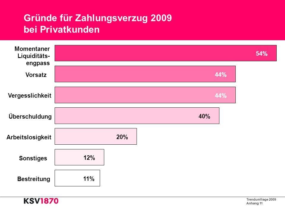 Trendumfrage 2009 Anhang 12 Maßnahmen zur Hereinbringung unbestrittener Forderungen 2009 89% 60% 26% 8% Sonstiges Sofortige Klage Anwaltliche Mahnschritte Inkassoinstitut Innerbetriebliches Mahnwesen