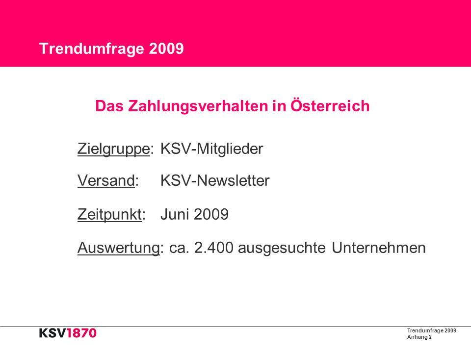 Trendumfrage 2009 Anhang 3 Trendumfrage 2009 Die Kassen klingeln noch KSV1870-Trendstudie: Trotz Krise zahlen Österreicher schneller als im Vorjahr