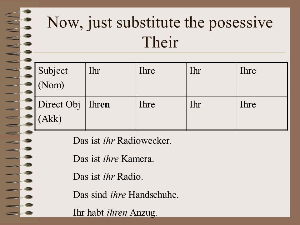 Now, just substitute the posessive Their Subject (Nom) IhrIhreIhrIhre Direct Obj (Akk) IhrenIhreIhrIhre Das ist ihr Radiowecker.