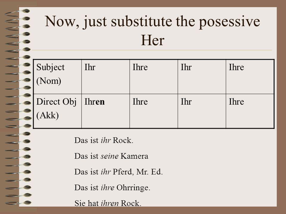 Now, just substitute the posessive Her Subject (Nom) IhrIhreIhrIhre Direct Obj (Akk) IhrenIhreIhrIhre Das ist ihr Rock.