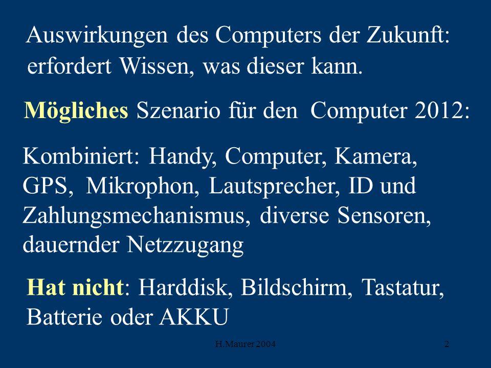 H.Maurer 20042 Auswirkungen des Computers der Zukunft: erfordert Wissen, was dieser kann.