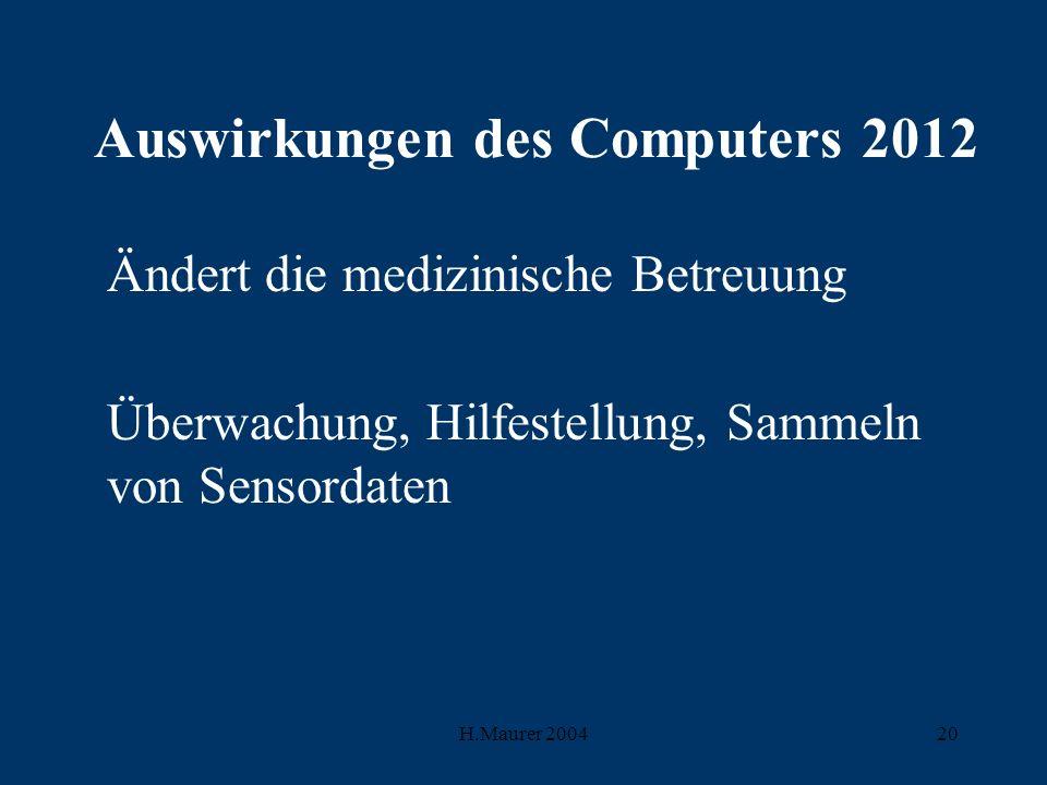 H.Maurer 200420 Auswirkungen des Computers 2012 Ändert die medizinische Betreuung Überwachung, Hilfestellung, Sammeln von Sensordaten