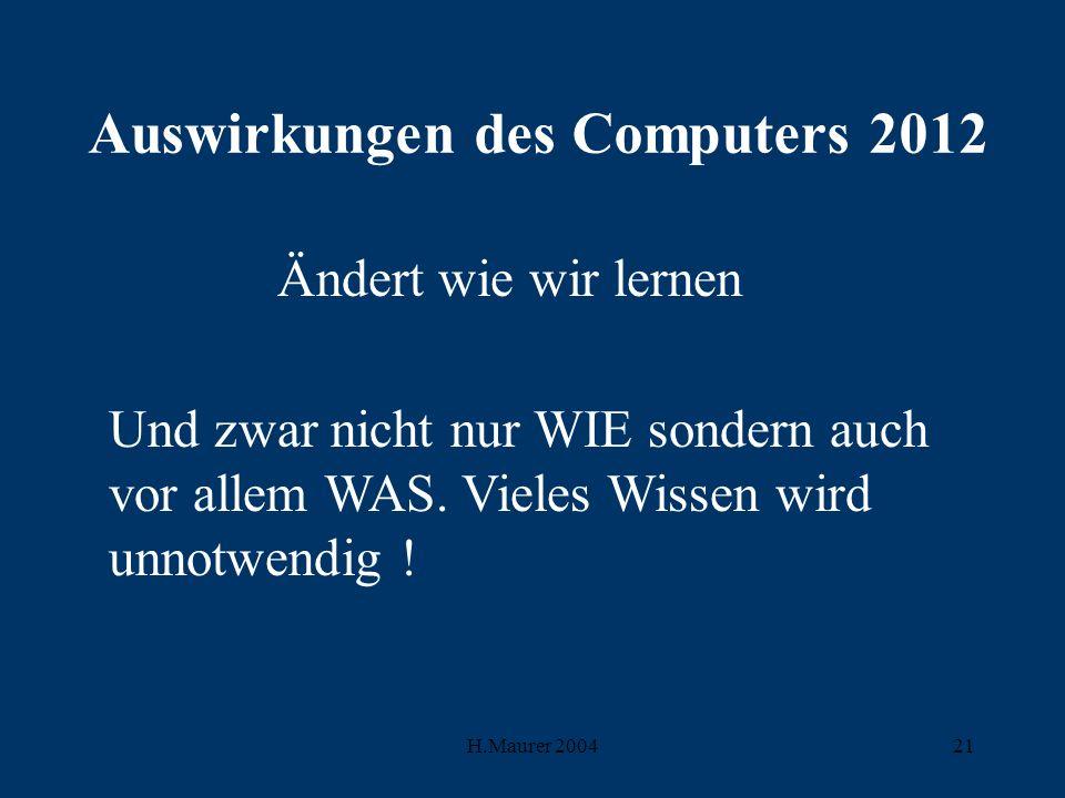 H.Maurer 200421 Auswirkungen des Computers 2012 Ändert wie wir lernen Und zwar nicht nur WIE sondern auch vor allem WAS.