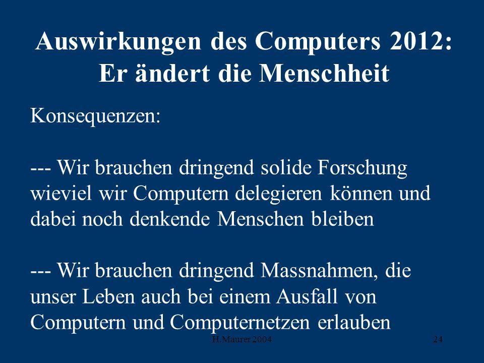 H.Maurer 200424 Auswirkungen des Computers 2012: Er ändert die Menschheit Konsequenzen: --- Wir brauchen dringend solide Forschung wieviel wir Computern delegieren können und dabei noch denkende Menschen bleiben --- Wir brauchen dringend Massnahmen, die unser Leben auch bei einem Ausfall von Computern und Computernetzen erlauben