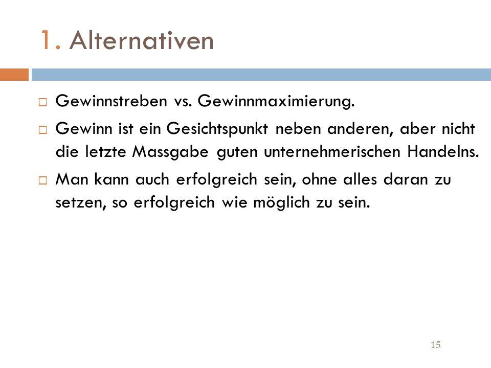 1.Alternativen 15 Gewinnstreben vs. Gewinnmaximierung.
