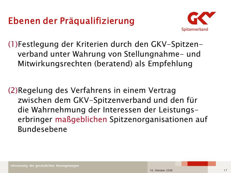 Umsetzung der gesetzlichen Neuregelungen 16. Oktober 200917 Ebenen der Präqualifizierung (1)Festlegung der Kriterien durch den GKV-Spitzen- verband un