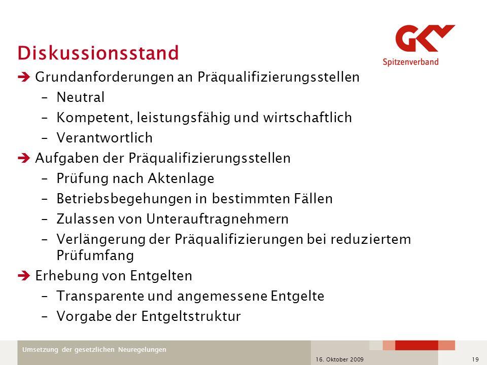 Umsetzung der gesetzlichen Neuregelungen 16. Oktober 200919 Diskussionsstand Grundanforderungen an Präqualifizierungsstellen –Neutral –Kompetent, leis