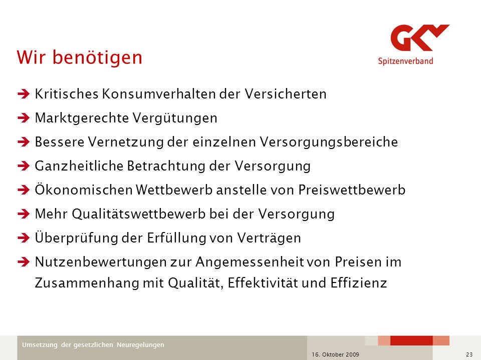 Umsetzung der gesetzlichen Neuregelungen 16. Oktober 200923 Wir benötigen Kritisches Konsumverhalten der Versicherten Marktgerechte Vergütungen Besser