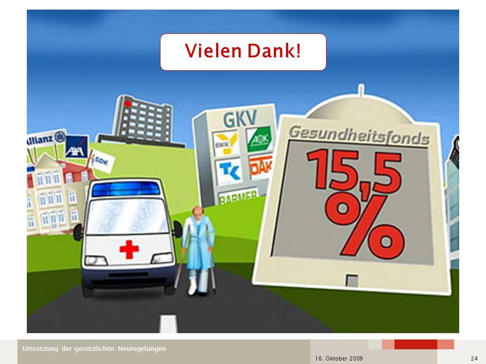 Umsetzung der gesetzlichen Neuregelungen 16. Oktober 200924 Vielen Dank!