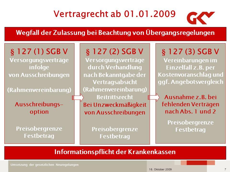 Umsetzung der gesetzlichen Neuregelungen 16. Oktober 20097 § 127 (1) SGB V Versorgungsverträge infolge von Ausschreibungen (Rahmenvereinbarung) Aussch