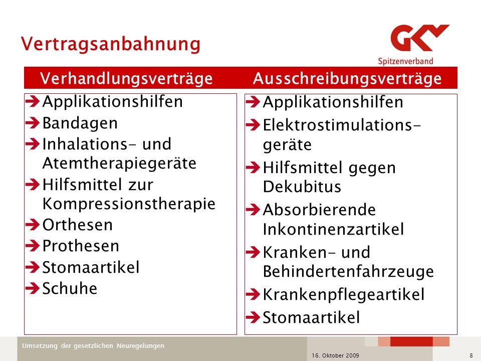 Umsetzung der gesetzlichen Neuregelungen 16. Oktober 20098 Verhandlungsverträge Ausschreibungsverträge Applikationshilfen Bandagen Inhalations- und At