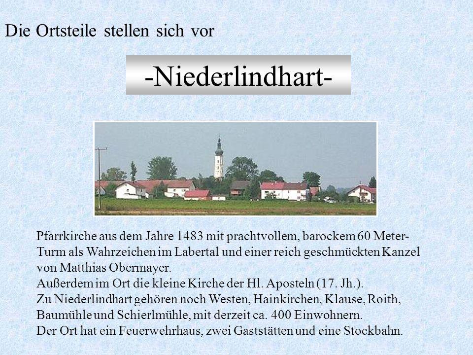-Holztraubach- Inmitten von Wäldern gelegenes Pfarrdörflein im Tal des Traubachs, heute noch im ursprünglichen Ortsbild. Hofmark des Klosters Seligent