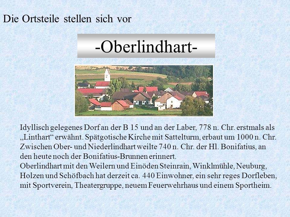 -Niederlindhart- Pfarrkirche aus dem Jahre 1483 mit prachtvollem, barockem 60 Meter- Turm als Wahrzeichen im Labertal und einer reich geschmückten Kan