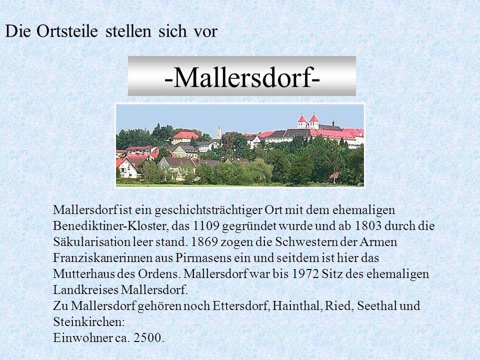 Der Markt und seine 9 Ortsteile Upfkofen Holztraubach Ascholtshausen Oberhaselbach Oberellenbach Oberlindhart Pfaffenberg Mallersdorf Niederlindhart