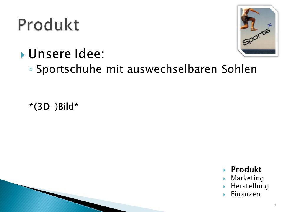 Unsere Idee: Sportschuhe mit auswechselbaren Sohlen *(3D-)Bild* 3 Produkt Marketing Herstellung Finanzen