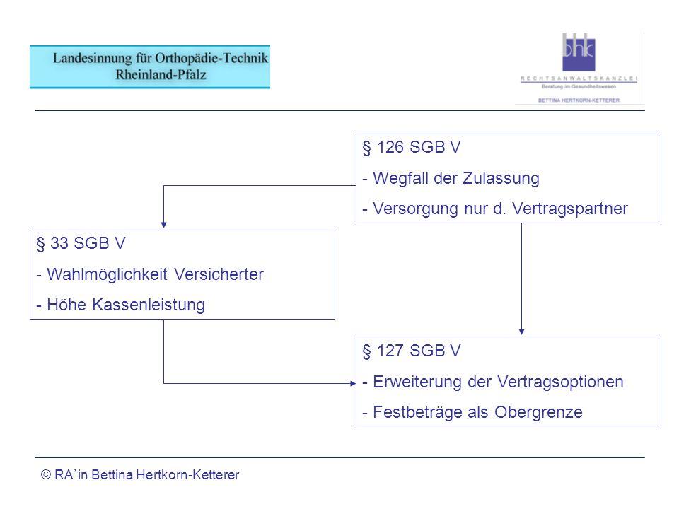 © RA`in Bettina Hertkorn-Ketterer § 126 SGB V - Wegfall der Zulassung - Versorgung nur d. Vertragspartner § 127 SGB V - Erweiterung der Vertragsoption