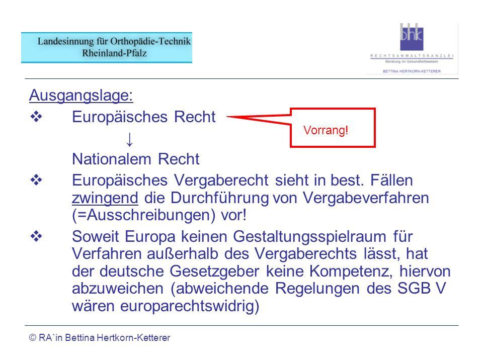 © RA`in Bettina Hertkorn-Ketterer Ausgangslage: Europäisches Recht Nationalem Recht Europäisches Vergaberecht sieht in best. Fällen zwingend die Durch