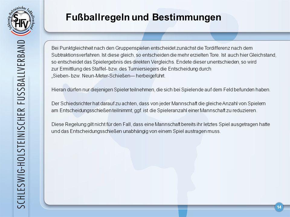 14 Fußballregeln und Bestimmungen Bei Punktgleichheit nach den Gruppenspielen entscheidet zunächst die Tordifferenz nach dem Subtraktionsverfahren.