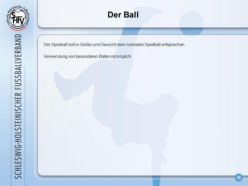 16 Der Spielball soll in Größe und Gewicht dem normalen Spielball entsprechen. Verwendung von besonderen Bällen ist möglich. Der Ball