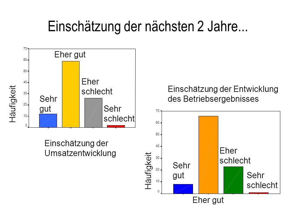 Einschätzung der nächsten 2 Jahre... Einschätzung der Umsatzentwicklung Häufigkeit 70 60 50 40 30 20 10 0 Sehr gut Eher gut Eher schlecht Sehr schlech