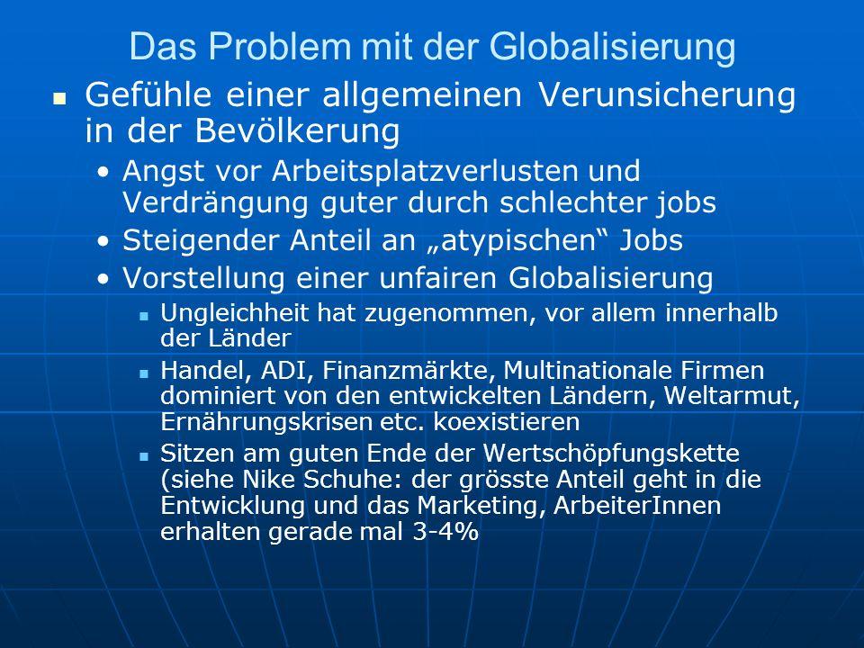 Das Problem mit der Globalisierung Gefühle einer allgemeinen Verunsicherung in der Bevölkerung Angst vor Arbeitsplatzverlusten und Verdrängung guter d