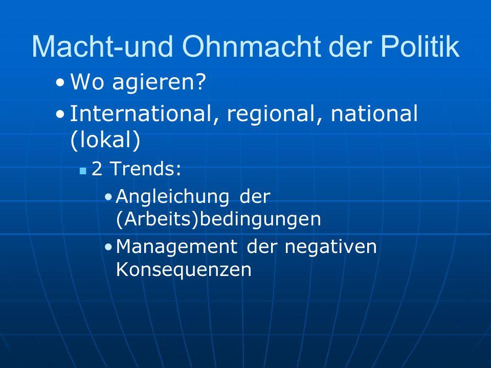 Macht-und Ohnmacht der Politik Wo agieren? International, regional, national (lokal) 2 Trends: Angleichung der (Arbeits)bedingungen Management der neg