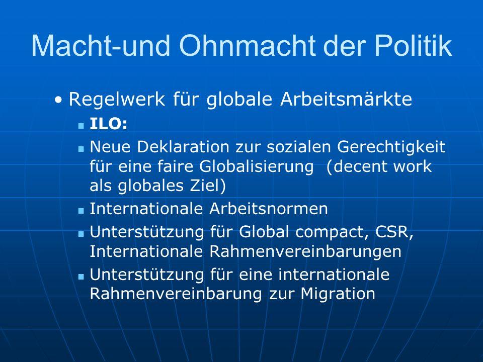 Macht-und Ohnmacht der Politik Regelwerk für globale Arbeitsmärkte ILO: Neue Deklaration zur sozialen Gerechtigkeit für eine faire Globalisierung (dec