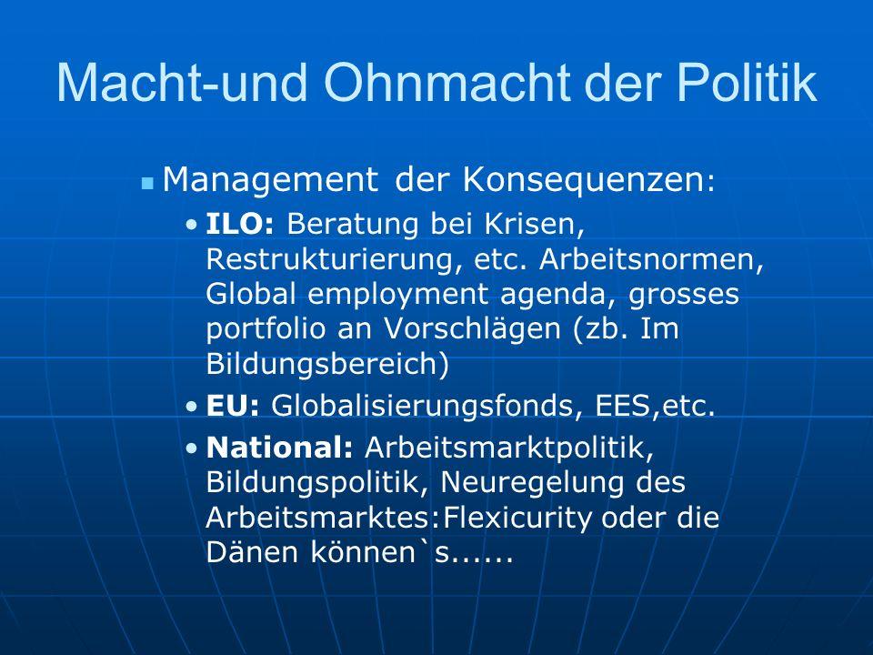 Macht-und Ohnmacht der Politik Management der Konsequenzen : ILO: Beratung bei Krisen, Restrukturierung, etc. Arbeitsnormen, Global employment agenda,