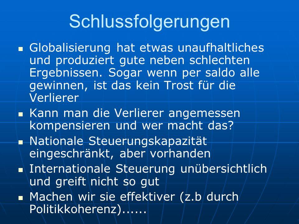 Schlussfolgerungen Globalisierung hat etwas unaufhaltliches und produziert gute neben schlechten Ergebnissen. Sogar wenn per saldo alle gewinnen, ist