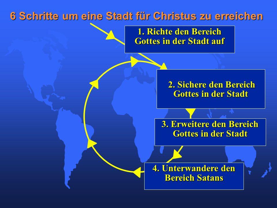 4. Unterwandere den Bereich Satans 6 Schritte um eine Stadt für Christus zu erreichen 1. Richte den Bereich Gottes in der Stadt auf 2. Sichere den Ber