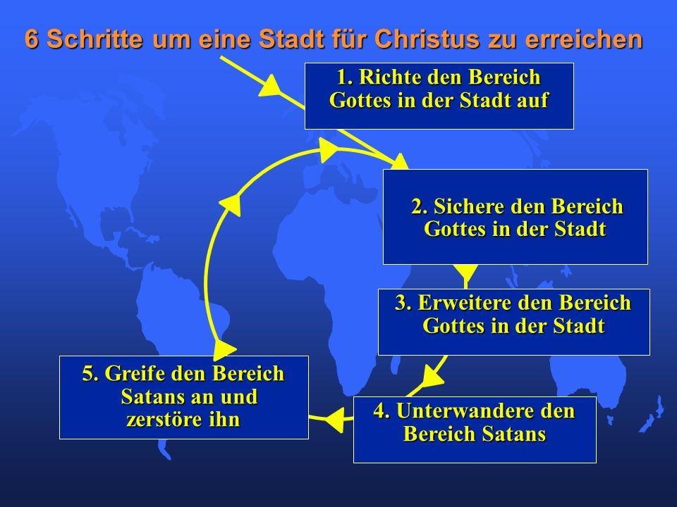 5. Greife den Bereich Satans an und Satans an und zerstöre ihn 6 Schritte um eine Stadt für Christus zu erreichen 1. Richte den Bereich Gottes in der