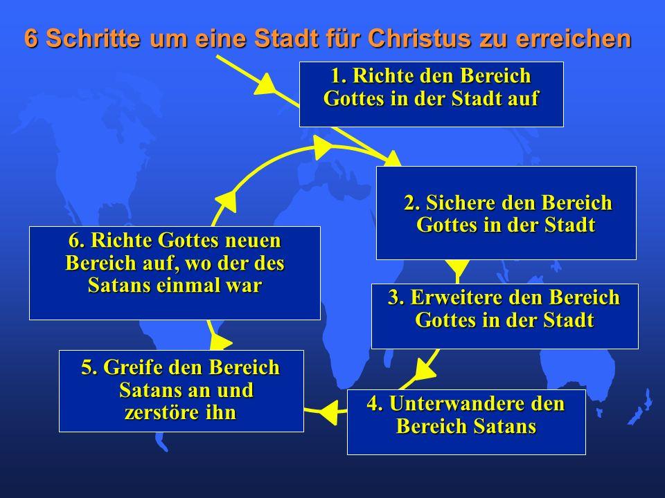 6. Richte Gottes neuen Bereich auf, wo der des Satans einmal war 6 Schritte um eine Stadt für Christus zu erreichen 1. Richte den Bereich Gottes in de