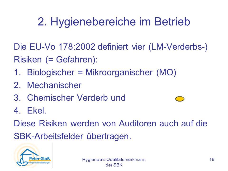 Hygiene als Qualitätsmerkmal in der SBK 16 2. Hygienebereiche im Betrieb Die EU-Vo 178:2002 definiert vier (LM-Verderbs-) Risiken (= Gefahren): 1.Biol