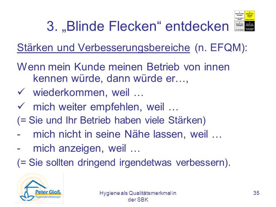 Hygiene als Qualitätsmerkmal in der SBK 35 3. Blinde Flecken entdecken Stärken und Verbesserungsbereiche (n. EFQM): Wenn mein Kunde meinen Betrieb von