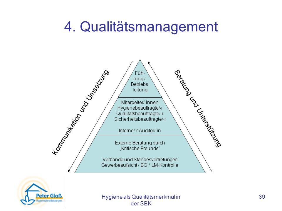 Hygiene als Qualitätsmerkmal in der SBK 39 4. Qualitätsmanagement Kommunikation und Umsetzung Beratung und Unterstützung