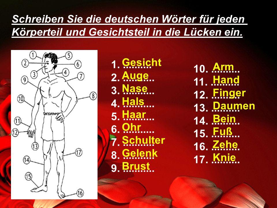 Schreiben Sie die deutschen Wörter für jeden Körperteil und Gesichtsteil in die Lücken ein. 1........... 2............ 3............ 4............ 5..