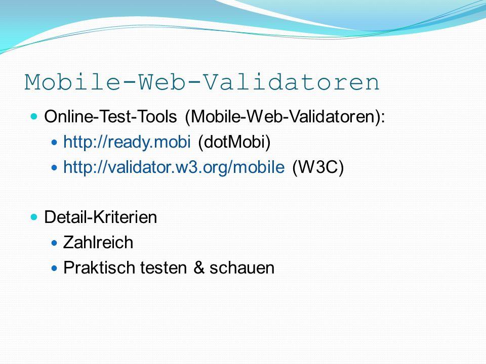 Mobile-Web-Validatoren Attribute für Mobiles Drupals Mobile-Module