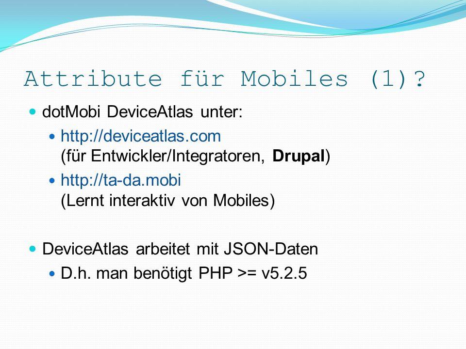 Mobile-Web-Validatoren Online-Test-Tools (Mobile-Web-Validatoren): http://ready.mobi (dotMobi) http://validator.w3.org/mobile (W3C) Detail-Kriterien Zahlreich Praktisch testen & schauen
