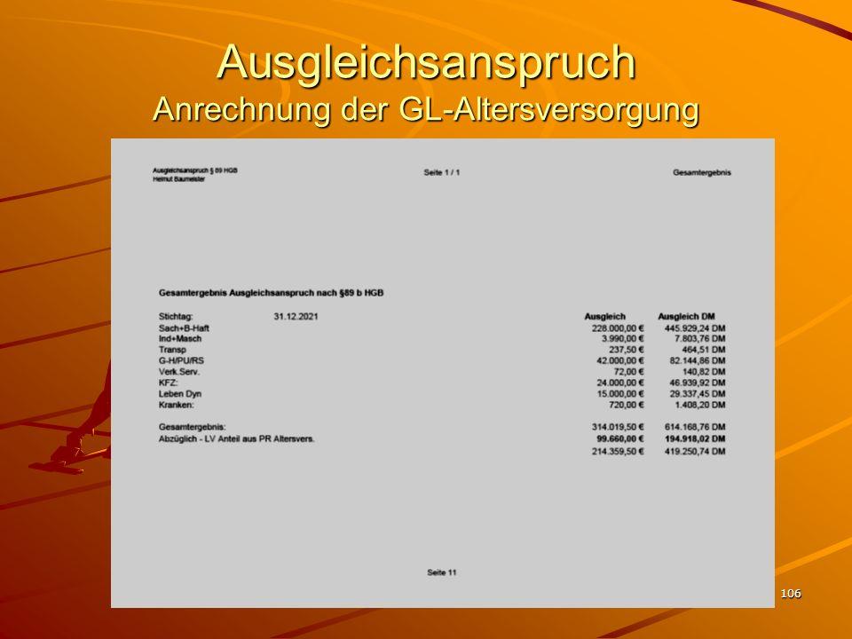 106 Ausgleichsanspruch Anrechnung der GL-Altersversorgung