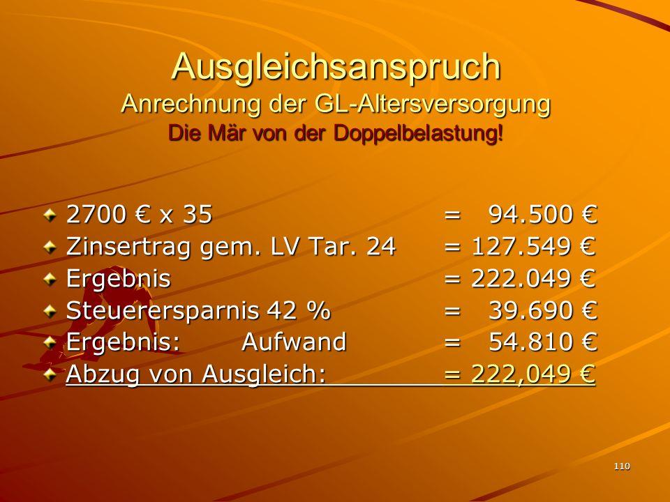 110 Ausgleichsanspruch Anrechnung der GL-Altersversorgung Die Mär von der Doppelbelastung! 2700 x 35 = 94.500 2700 x 35 = 94.500 Zinsertrag gem. LV Ta