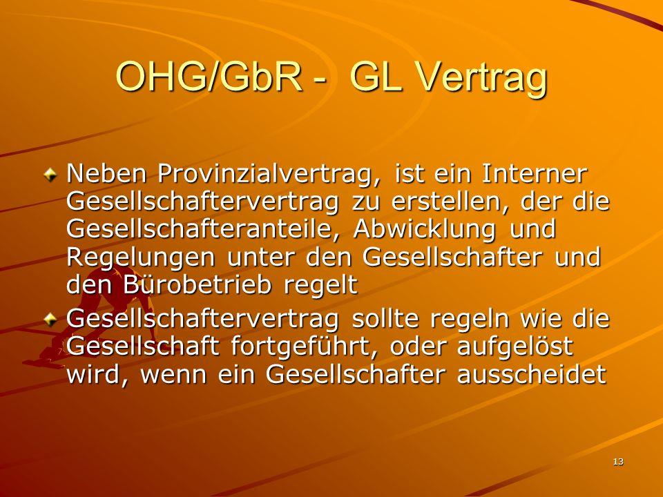 13 OHG/GbR - GL Vertrag Neben Provinzialvertrag, ist ein Interner Gesellschaftervertrag zu erstellen, der die Gesellschafteranteile, Abwicklung und Re