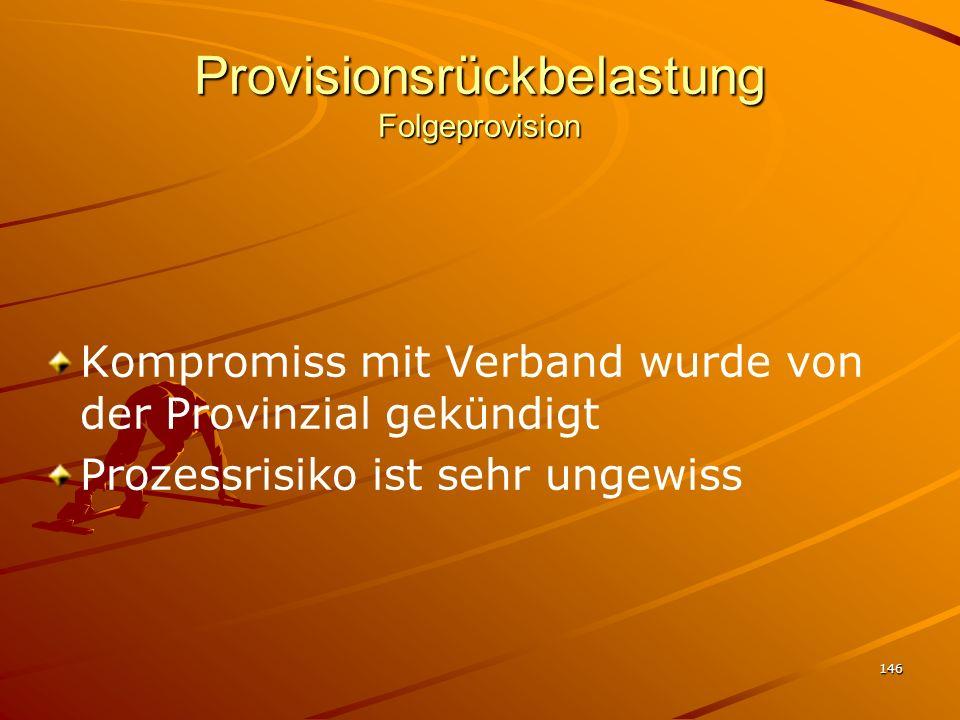 146 Provisionsrückbelastung Folgeprovision Kompromiss mit Verband wurde von der Provinzial gekündigt Prozessrisiko ist sehr ungewiss