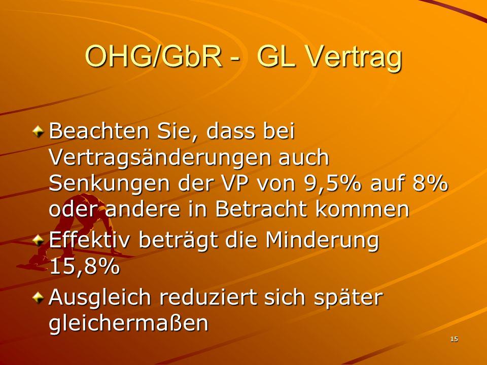 15 OHG/GbR - GL Vertrag Beachten Sie, dass bei Vertragsänderungen auch Senkungen der VP von 9,5% auf 8% oder andere in Betracht kommen Effektiv beträg