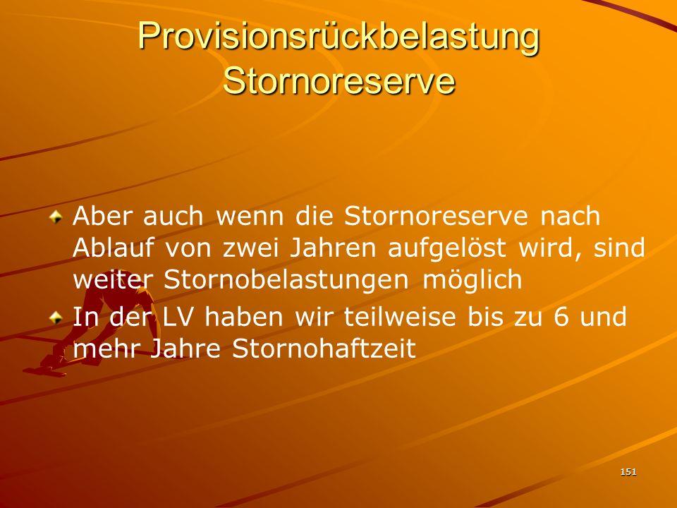 151 Provisionsrückbelastung Stornoreserve Aber auch wenn die Stornoreserve nach Ablauf von zwei Jahren aufgelöst wird, sind weiter Stornobelastungen m