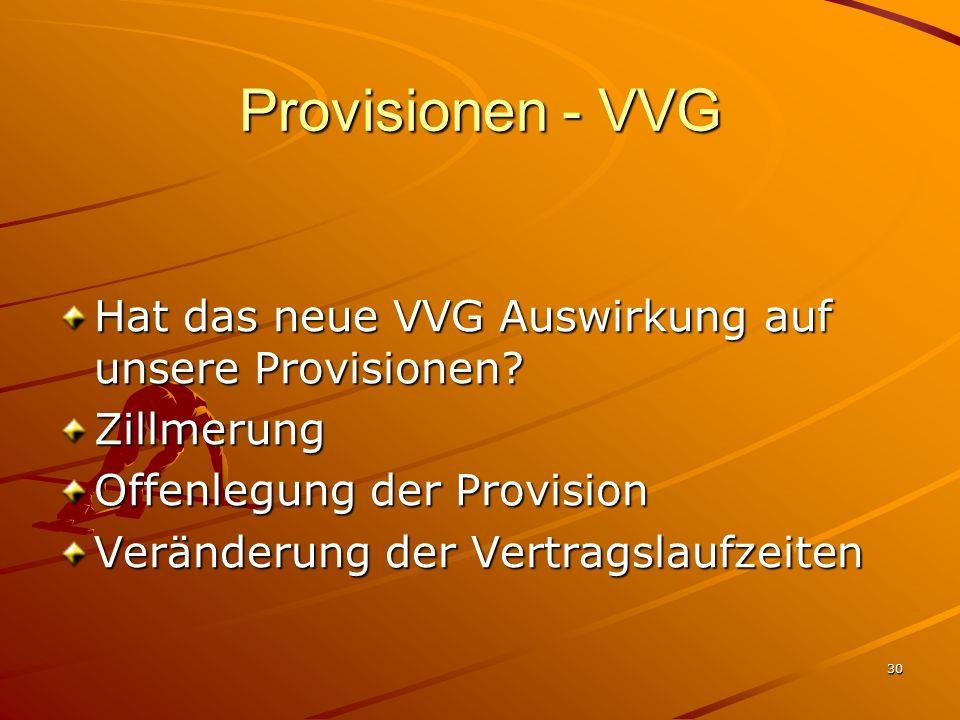 30 Provisionen - VVG Hat das neue VVG Auswirkung auf unsere Provisionen? Zillmerung Offenlegung der Provision Veränderung der Vertragslaufzeiten