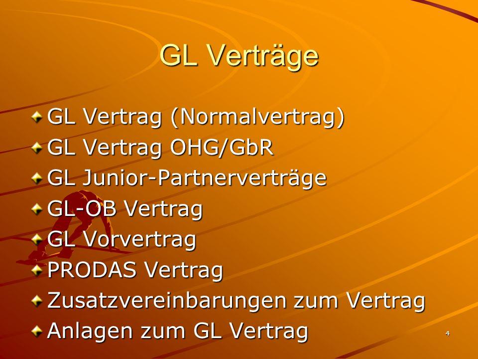 4 GL Verträge GL Vertrag (Normalvertrag) GL Vertrag OHG/GbR GL Junior-Partnerverträge GL-OB Vertrag GL Vorvertrag PRODAS Vertrag Zusatzvereinbarungen