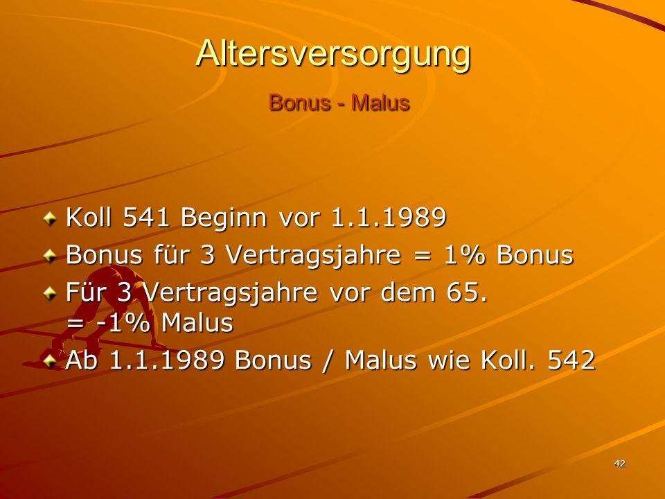 42 Altersversorgung Bonus - Malus Koll 541 Beginn vor 1.1.1989 Bonus für 3 Vertragsjahre = 1% Bonus Für 3 Vertragsjahre vor dem 65. = -1% Malus Ab 1.1