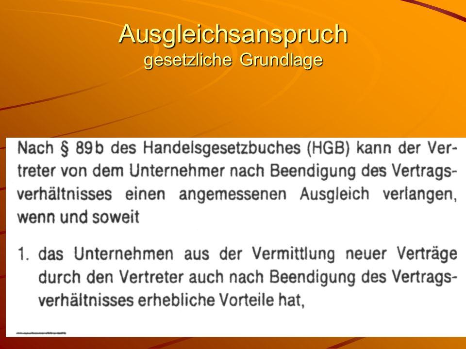 53 Ausgleichsanspruch gesetzliche Grundlage §89b HGB